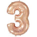 Шар (40''/102 см) Цифра, 3, Розовое Золото, 1 шт.